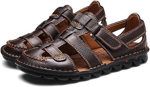 Sandales à Bout fermé Hommes d'été en Cuir véritable Spartiates Chaussures pour Trou Chaussures Plage Randonnée Natation