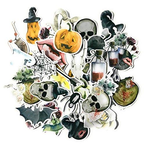 Navy Peony Scary Skull Stickers en Halloween-stickers | Waterdichte Stickers voor Laptops, Skateboards en Telefoonhoesjes | Leuke Stickers voor Scrapbooking, Dagboek, Planner en Bullet Journal (31 stuks)