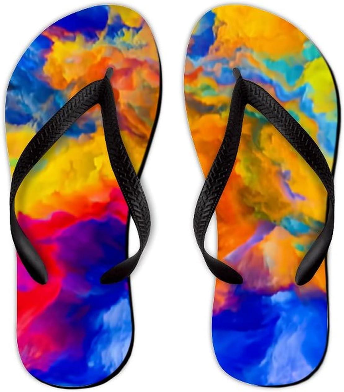 Summer Flip Flops for Men Women Colors Imagination Series Composition Colorful Soft Lightweight Non Slip Sandals for Shower Beach Pool Bathroom Flat 11.5