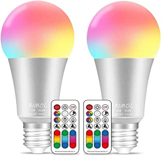 Color Changing Light Bulbs with Remote,RIMOL 10W RGBW Color LED Light Bulb with Memory Function E26 RGB+Soft White Color Light Bulb,Ideal Lighting (Dimmable,2 Pack)