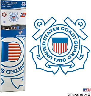 UNITED STATES COAST GUARD DECALS - 4 Piece Officially Licensed Military Décor Stickers for Walls and Rooms - Large Military Decals from 3 to 15 Inches - US Military Decals Look Great On Walls