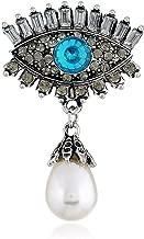 European and American Fashion Brooch Eye Personality Retro Pearl Inlaid Diamond Alloy Devil's Eye Brooch