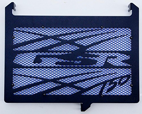 cache radiateur/grille de radiateur 750 GSR design Tsunami noir carbone satiné + grillage anti gravillon bleu