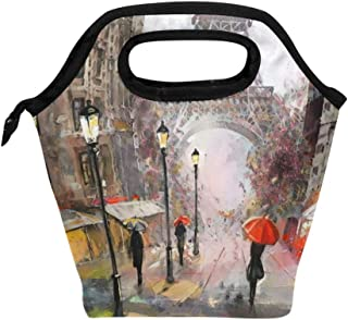 Mydaily Lunch Box Eiffel Tower Rainy Day Painting Reusable Insulated School Lunch Bag for Women Kids
