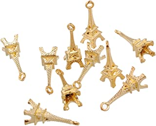 RUBYCA 60PCS Charm Pendant Eiffel Tower Tibetan Metal Beads Gold Color Jewelry Making Bracelet
