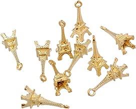 RUBYCA 60PCS Charm Pendant Eiffel Tower Tibetan Metal Beads Gold Color Jewelry Making Bracelet