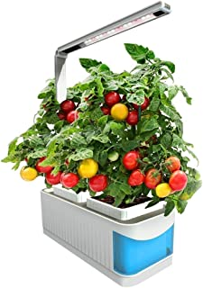 Finether 水耕栽培キット LED付き 水耕栽培器 スマートガーデン 育苗機 家庭菜園 植物育成ライト 水不足自動通知機能付き 室内水耕栽培 自然植物野菜育成キット 家庭用 読書灯としても活用可能 青