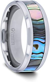Maui | Tungsten Rings for Men | Tungsten | Comfort Fit | Custom Engraving | Wedding Ring Band with Mother of Pearl Inlay - 10mm