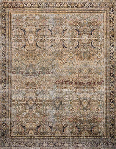 Loloi ll Layla Collection Printed Vintage Persian Area Rug 5'0' x 7'6' Olive/Charcoal