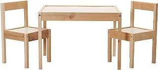Ikea Latt Table d'enfant avec 2 chaises, blanc/pin - pour pièces ou chambres de petite taille