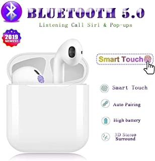 Bluetooth Wireless Earbuds Noise Canceling Sports Headphones with Charging Case IPX5 Waterproof Stereo Earphones in-Ear Built-in HD Mic Headsets for iPhone Android Apple Airpod -White