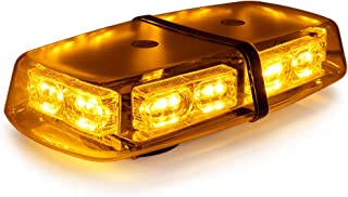 LE-JX Amber Yellow 36 LEDs Flash Emergency Light 12-24 Volt 18 W Warning LED Mini Bar Strobe Light High Intensity Rotating Beacon Roof Top Plow Hazard Lights with Magnetic Base and Cigar Lighter Plug