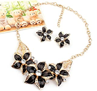 Zjzhao Fashion Women Crystal Flower Statement Gold Plated Necklace Earrings Jewelry Set