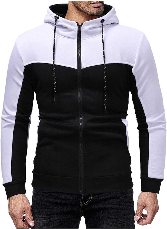 Aayomet Hoodies Sweatshirts for Men Color Block Patchwork Tops Long Sleeve Athletic Hooded Pullover Blouses Sweaters Coat