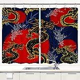 MIFSOIAVV Cortina de Cocina Dragones patrón de Dragones de Asia Juegos de Tratamiento de Ventanas Cortinas 2 Paneles con Ganchos,140x100CM