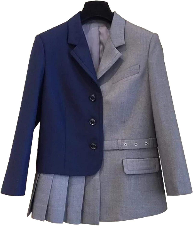 WkvAoHvk Women Ruffles Big Size Three Quarter Sleeve Coat Irregular OL Blazer