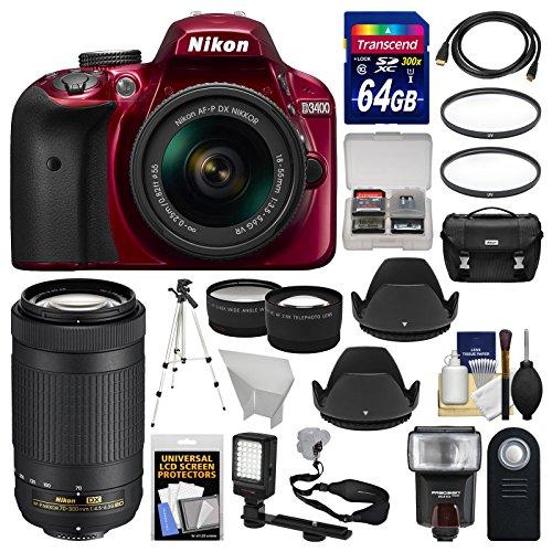 Nikon D3400 Digital SLR Camera & 18-55mm VR (Red) & 70-300mm DX AF-P Lenses with 64GB Card + Case + Flash + Video Light + Tripod + Tele/Wide Lens Kit