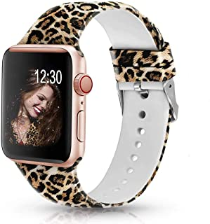 Sunnywoo Leopard Bands Compatible with Apple Watch Band 38mm/40mm/42mm/44mm, Soft Silicone Fadeless Pattern Printed Sport ...