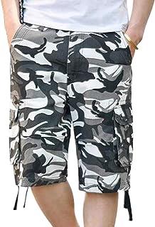 Spirio Mens Outdoor Wear Capri Pants Denim Jean Multi-Pockets Camo Shorts