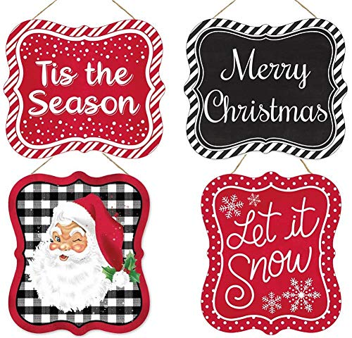 HAPPY DEALS ~ Set of 4 Christmas Season Signs | 7 X 6 inch | Wreath Embellishment or Hanging Signs | Merry Christmas, Let it Snow, Tis The Season and Vintage Santa