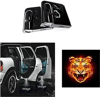 Soondar 2 pcs Universal Wireless Car Projection LED Projector Door Shadow Light Welcome Light Laser Emblem Logo Lamps Kit, No Drilling (Tiger)