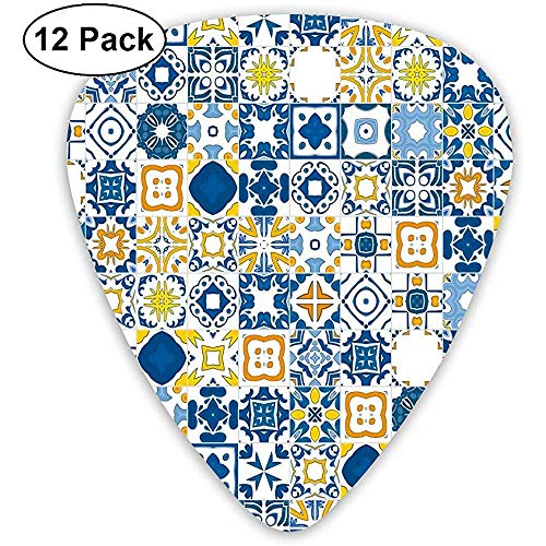 Gitaar Plectrum, Mozaïek Portugees Azulejo Mediterraan effect Decoratief Volwassen Meisjes Jongens voor Indoor Outdoor Decor (Set van 12)