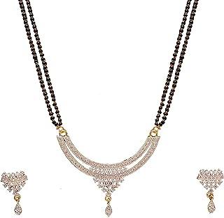 18 K Gold Plated American Diamond Fashion Jewelry Mangalsutra Set for Women