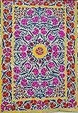 HANDICRAFTOFPINKCITY Vintage Suzani - Funda de cama decorativa de estilo bohemio, hecha a mano, diseño indio, color gris