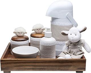 Kit Higiene Toys Escuro Carneirinho, Potinho de Mel, Bege