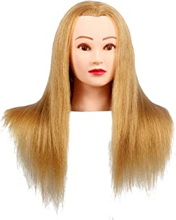 Mannquin Head With Long Hair Stying Training Head Doll Head for Hairdresser Professional Cosmetology Head Practicing Head Manikin Head With Table Clamp Head