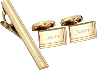 Personalized Custom Name Message Tie Clip for Men Cufflinks Set Tuxedo Shirts Business Wedding in Gift Box
