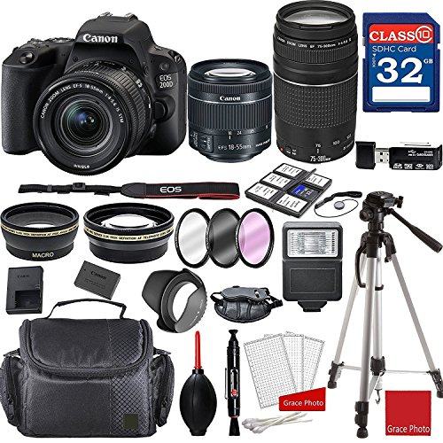 Canon EOS 200D Rebel SL2 Kit with EF-S 18-55mm f/4-5.6 is STM Lens and EF 75-300mm f/4-5.6 III Lenses + Professional Accessory Bundle