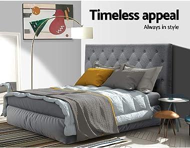 Double Headboard, Upholstered Fabric BedHead, Grey
