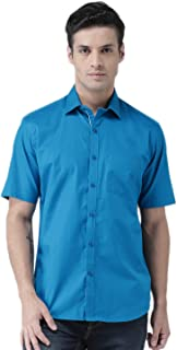 Zeal Half Sleeve Shirts for Mens Cotton Casual Blue Regular Fit Plain or Solid