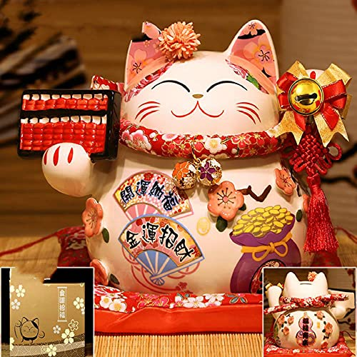 CHOUDOUFU Hucha Monedas Regalo Hucha Monedas Regalo Japonés De 9 Pulgadas De Cerámica Gato De La Fortuna Maneki Neko Ornamento Decoración del Hogar Regalo Feng Shui Lucky Cat Piggy Bank Pieza Central