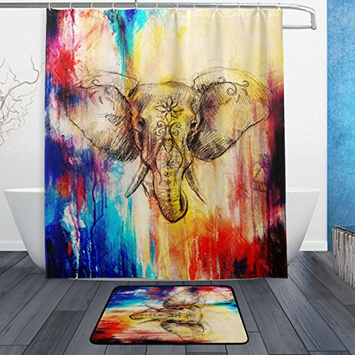 Abstract Watercolor Elephant with Floral Ornament Waterproof Polyester (60' x 72') Shower Curtain and Bath Mat Set (23.6' x 15.7') with 12 Hooks for Bathroom - Set of 2