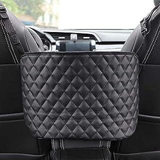 Car Seat Storage And Handbag Holding Net Hanging Storage Bag Between Car Seats, Durable PU Leather Car Seat Organizer,Barr...