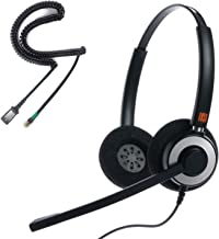 IPD IPH-165 Binaural canceling, Corded Call Center/Office Headset with U10P-S Bottom Cable Works with LG,Yealink SIP,Snom and Panasonic and Other IP Phones
