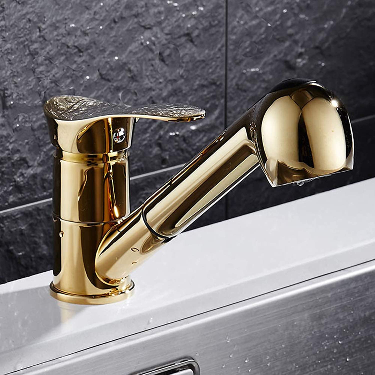 360°Swivel Kitchen Tap European Style with Pull Out Swivel Spout all Brass Sink Hot Cold Taps Two ways of water flow,goldFaucet