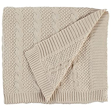 Stone & Beam Transitional Chunky Cable Knit Throw, 70  x 40 , Ivory