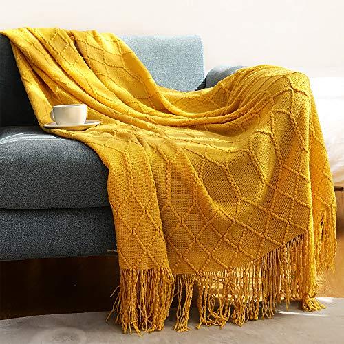 Zhouwei Manta de punto de color sólido con relieve de gofres para sofá cama, manta decorativa de punto grueso (color: amarillo, tamaño: 127 x 172 cm)