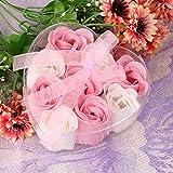 Bebliss 9Pcs Scented Rose Flower Petal Bouquet Herzform Geschenkbox Bad Körper Seife Geschenk...