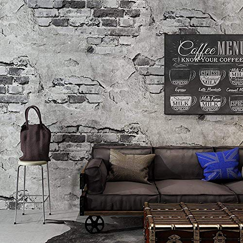 Blooming Wall Industrial Style Faux Cement Brick Wall Mural Wallpaper in Shops Cafeteria livingroom Bedroom, 54 Square Ft/Roll (Wallpaper(54 Square Ft/Roll), Vintage Cyan Brick)