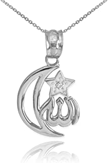 925 Sterling Silver CZ-Accented Islamic Star and Crescent Moon Allah Pendant Necklace