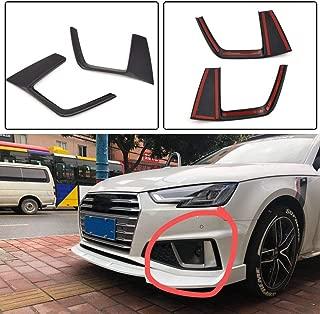 JC SPORTLINE fits Audi A4 B9 Sline S4 Sedan 2019 Carbon Fiber/ABS Side Fog Light Lamp Vent Trim Cover Front Bumper Spoiler Apron Scoop Fin 2pcs/Set (ABS)