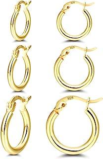 گوشواره حلقه ای روکش طلا 14K - 3 جفت حلقه پست نقره استرلینگ کوچک | گوشواره های حلقه ای طلای زنانه (13 میلی متر 15 میلی متر 20 میلی متر)