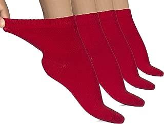 Hugh Ugoli Lightweight Women's Diabetic Ankle Socks Bamboo Thin Socks Seamless Toe and Non-Binding Top, 4 Pairs