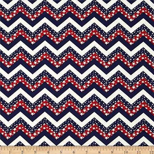 Santee Print Works Made in The USA Chevron & Stars Red White Blue Fabric by The Yard,