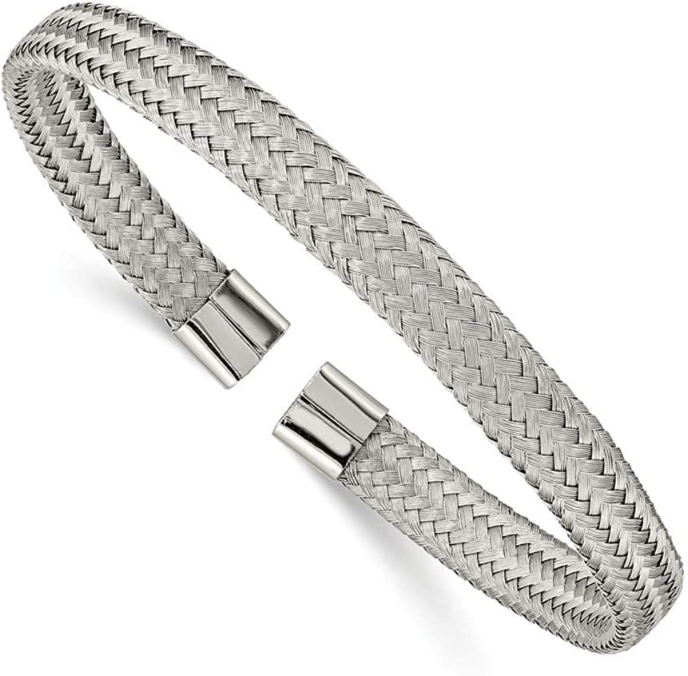 Solid Stainless Steel 6.00mm Mesh Wire Cuff Bangle Bracelet