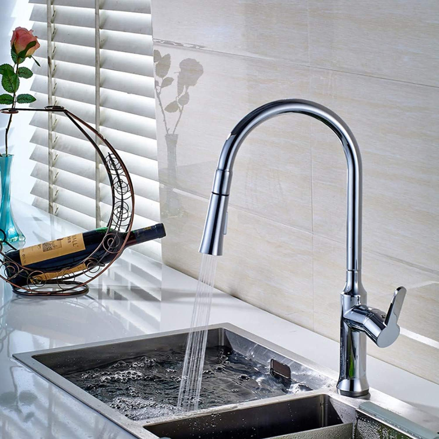 Lddpl Contemporary Kitchen Faucet Copper Chrome redatable Single Handle Single Hole Pull Out Spring Kitchen Sink Tap